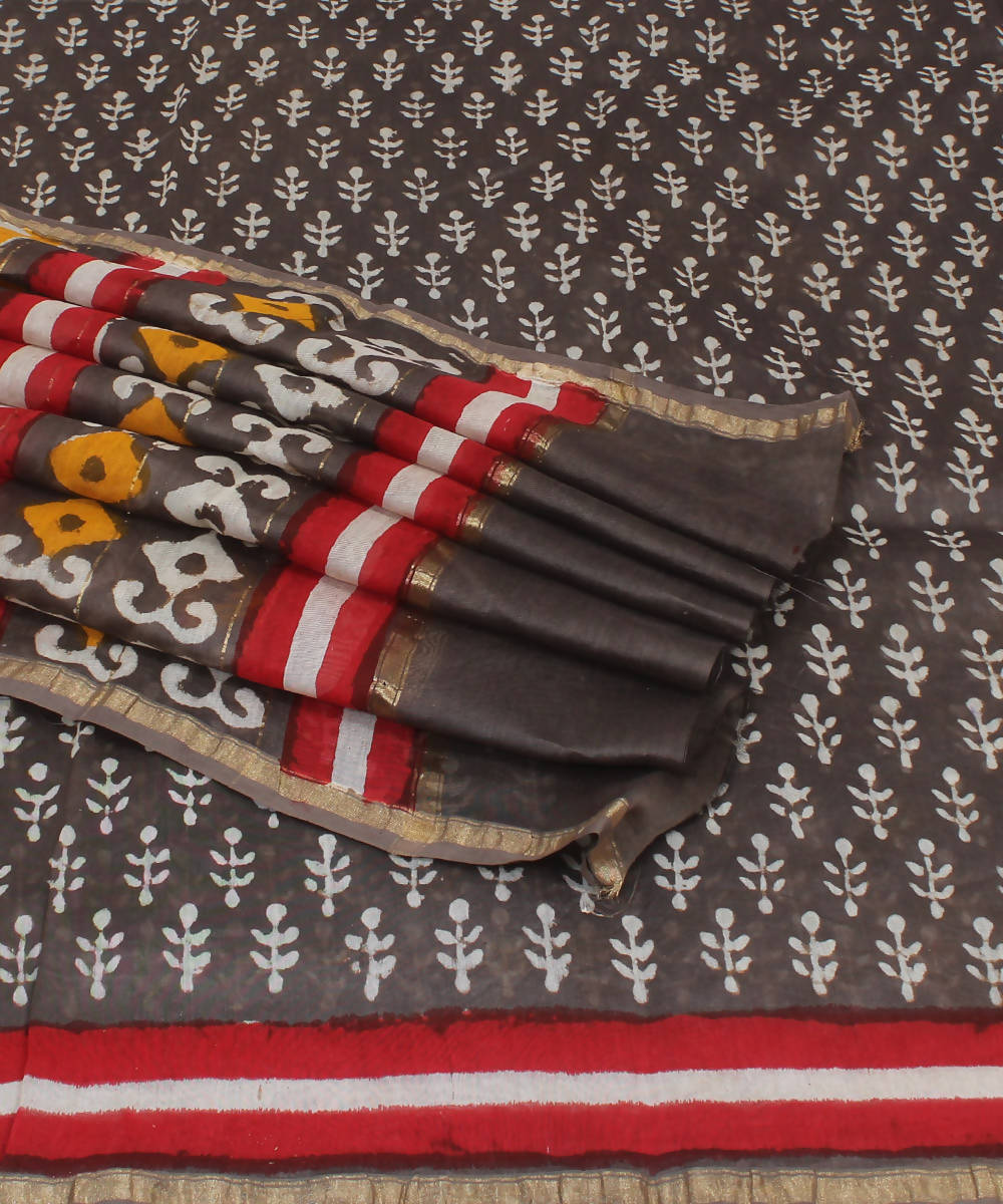 Dark Grey Hand Block Printed Chanderi Saree