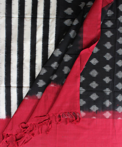 Handwoven Single Ikat Cotton Dupatta in Black and White with Red color border