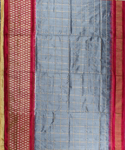 Check Design Handloom Ikat Rajkot Silk Saree In slate grey And pink Shade