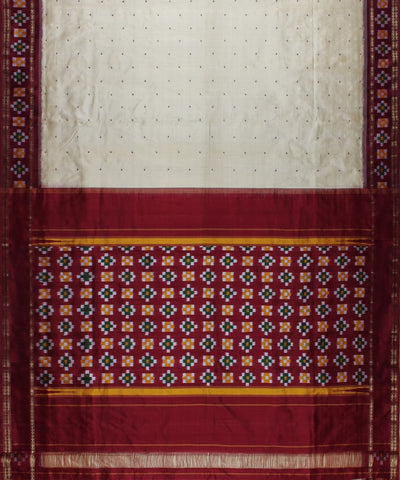 Cream And Maroon Color Handloom Ikat Silk Saree