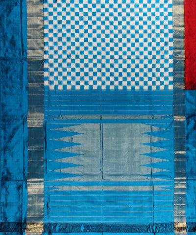 Double Ikat Handloom Ikat Silk Saree In Sea Blue Checks Pattern