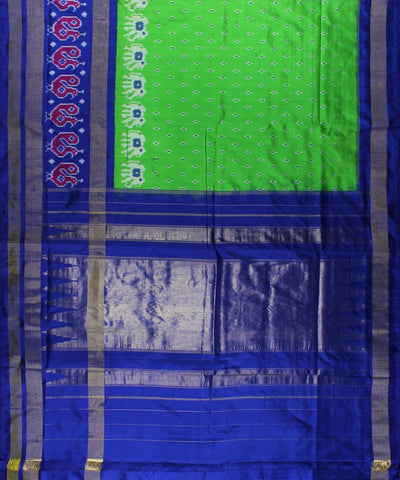 Green And Royal Blue Handloom Ikat Rajkot Silk Saree In Elephant Motifs