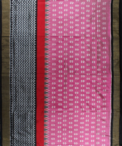 Light Pink And Black Handloom Ikat Rajkot Silk Saree