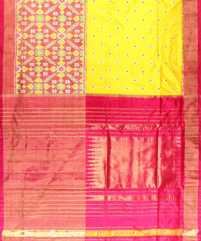 Pan-Patola Handloom Yellow Ikat Rajkot Silk Saree