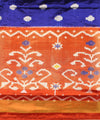 Blue-Brown Flower Motifs Handwoven Ikat Rajkot Silk Saree