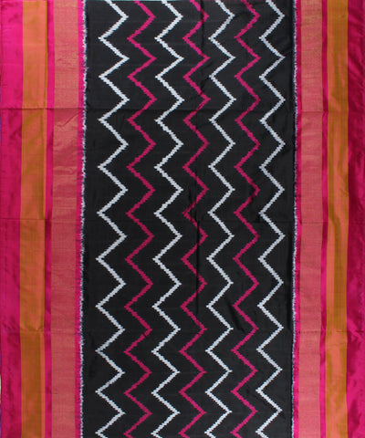 Pure Handloom Black Ikat Silk Saree In Wave Design