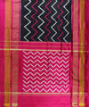 Pure Handloom Black Ikat Silk Saree In Wavy Pattern