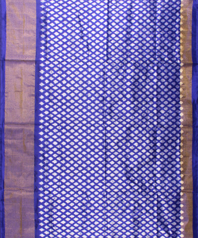 Royal Blue And White Handwoven Ikat Silk Saree