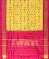 Yellow and Pink Handwoven Ikat Silk Dupatta with Pan-Patola Design