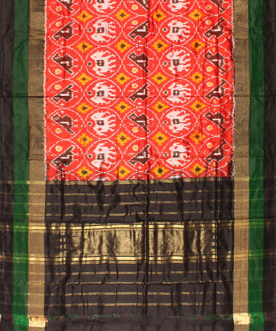 Red And Black Handwoven Ikat Silk Dupatta