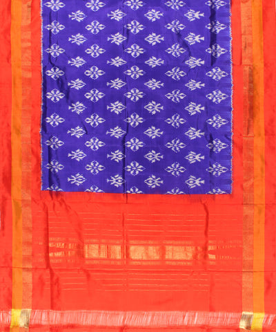 Ink Blue And Red Handwoven Ikat Silk Dupatta