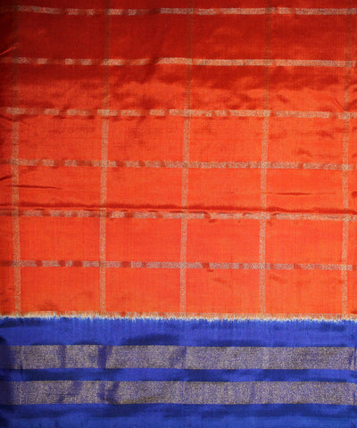 Pure Handloom Orange Color Ikat Rajkot Silk Saree