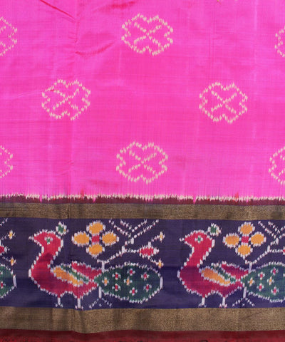 Pink And Dark Navy Blue Handloom Ikat Rajkot Silk Saree