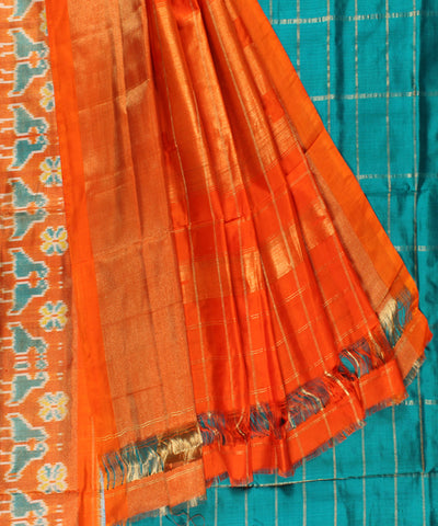 Dark Cyan Handwoven Check design Ikat Rajkot Silk Saree