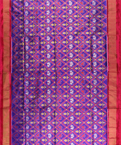Ink Blue And Pink Handwoven Ikat Rajkot Silk Saree