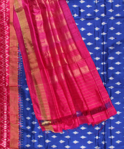Handwoven Ikat Rajkot Silk Saree In Blue and Pink Shade