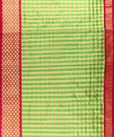 Parrot Green Color with Zari Handloom Ikat Silk Saree