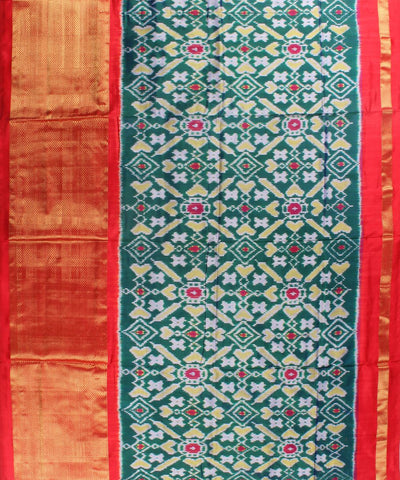 Green Color Pan Patola Handloom Ikat Silk Saree