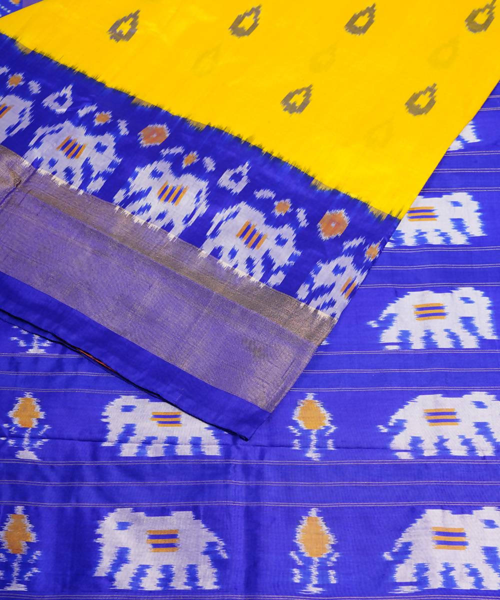 Handloom yellow blue pochampally silk saree