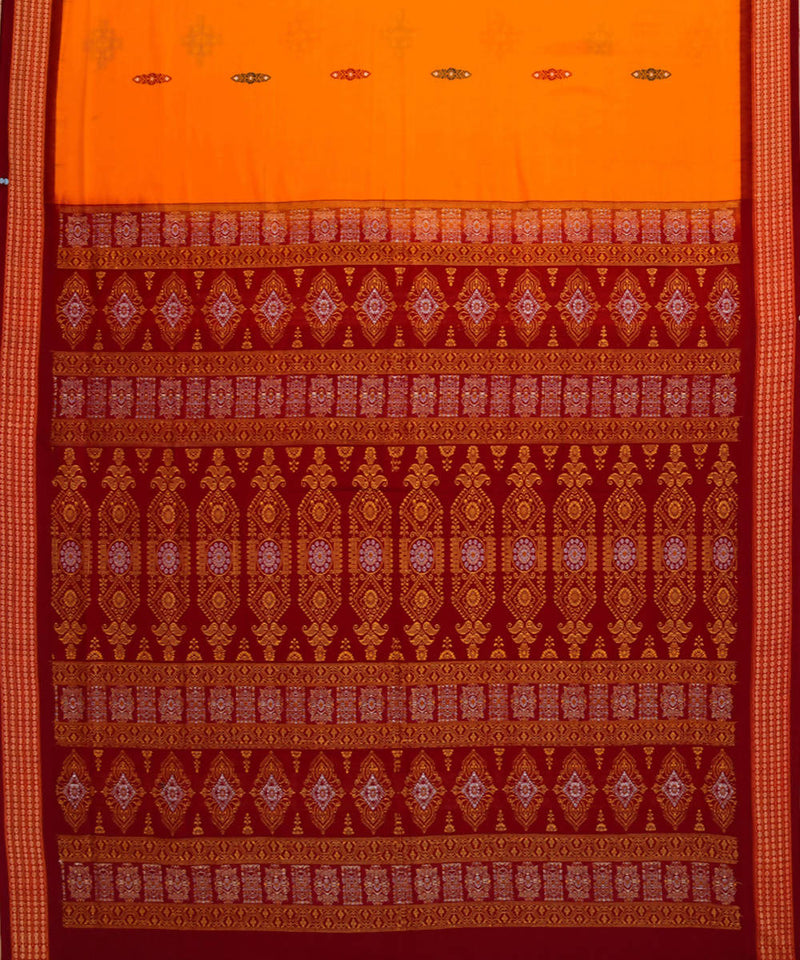 Handwoven bomkai yellow cotton saree