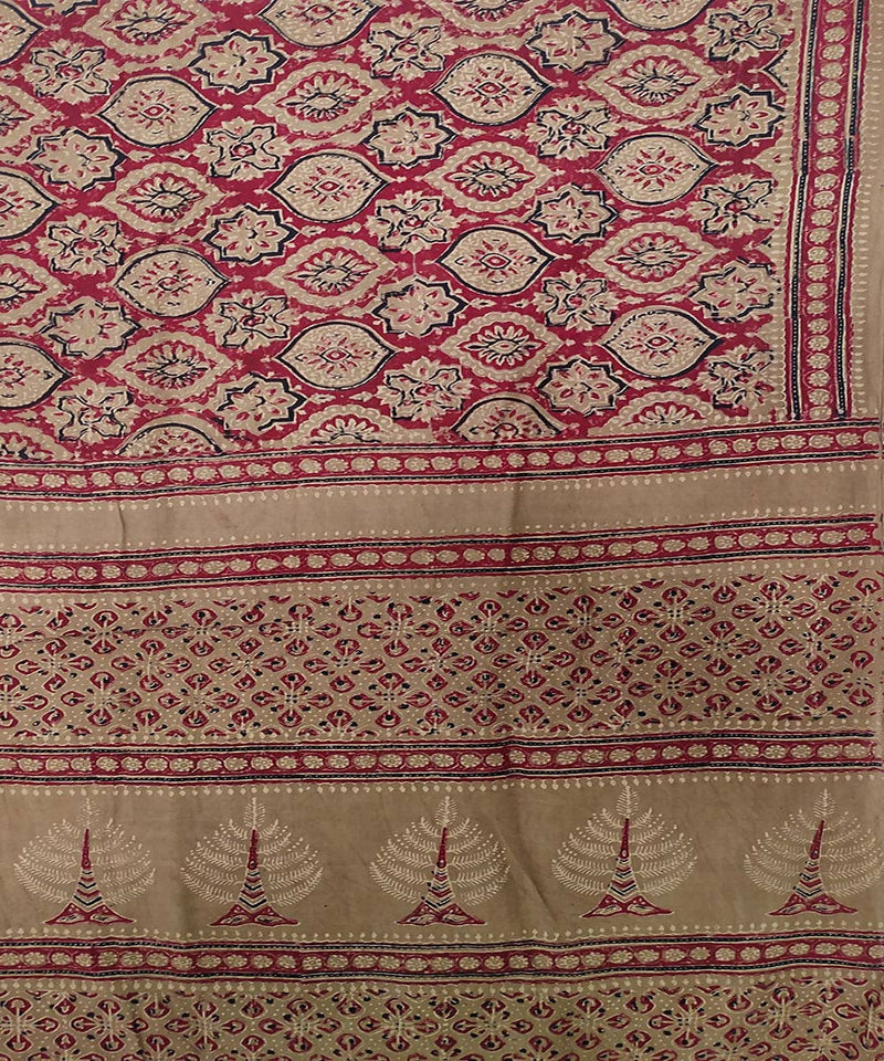 Red and black Ajrakh Handblock on brown Handloom Cotton Saree