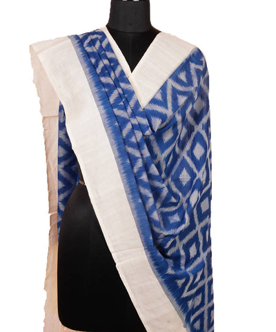 Blue White Handloom Ikkat Cotton Dupatta