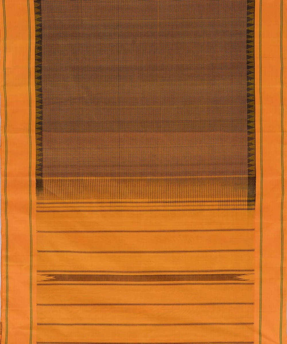 Mustard black small checks kanchi silkcotton saree plain mustard border
