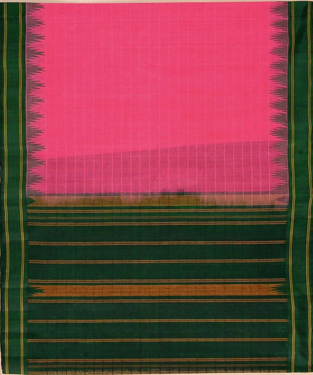 Pink kanchi cotton saree bottle green silk korvai temple border