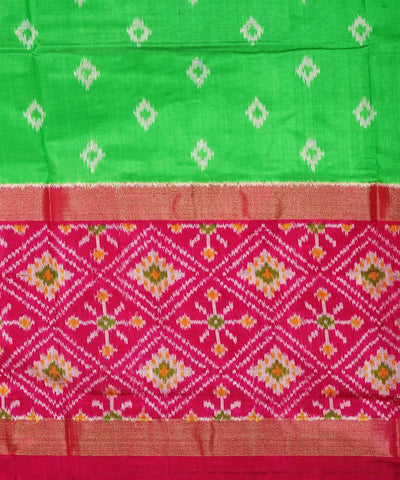Handloom Parrot Green Ikat Silk Saree