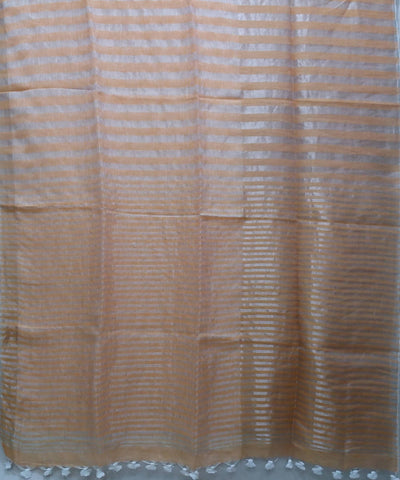 Peach zari handwoven Linen Saree