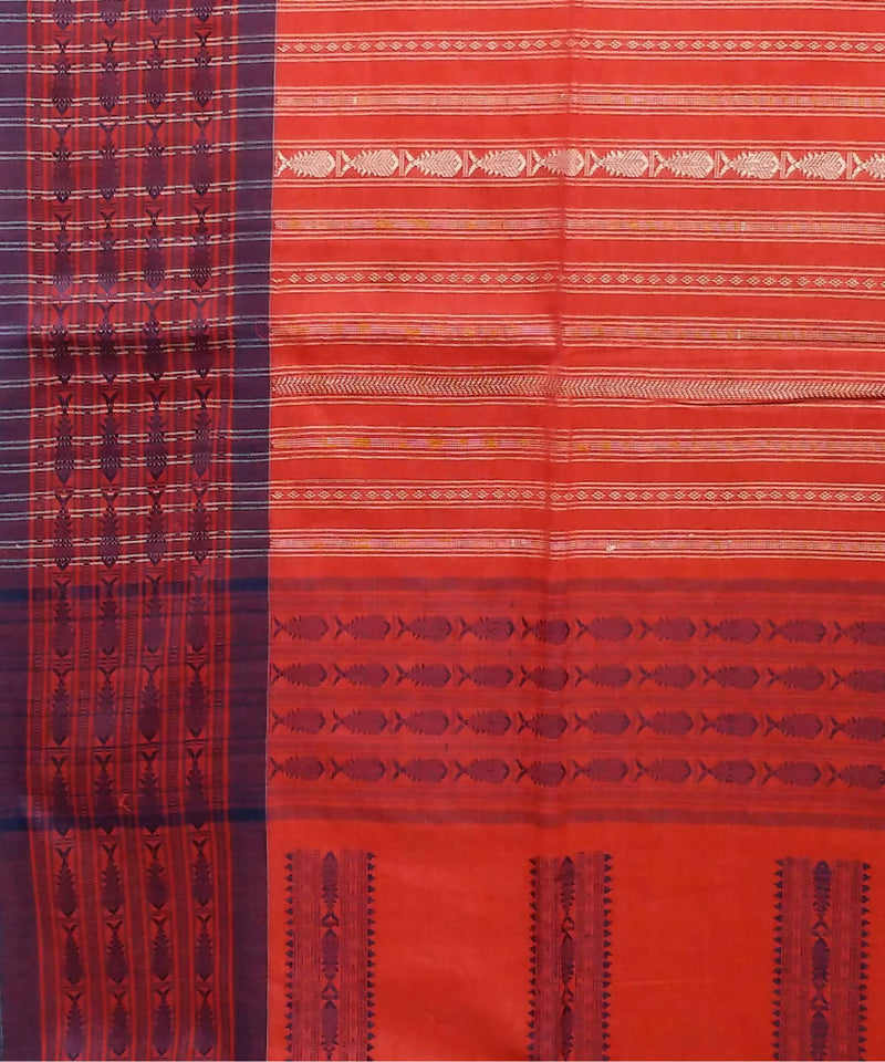 Red stripe Handspun Handwoven Cotton Saree