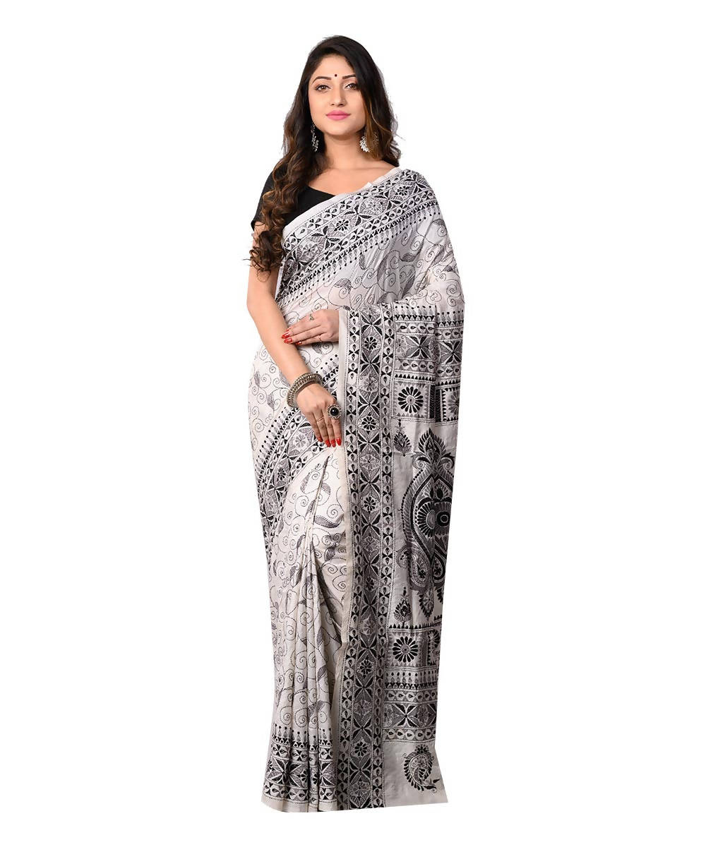 White Bengal Handwoven Kantha Stitch Saree