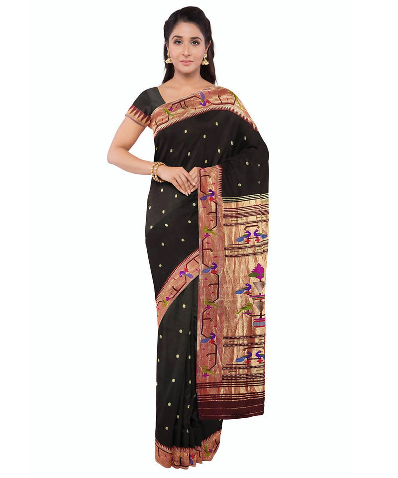 Paithani handwoven black silk saree