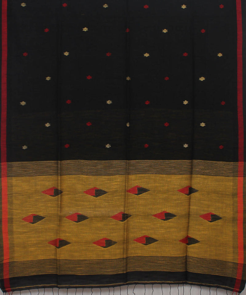 Bengal Handloom Black Yellow Cotton Saree