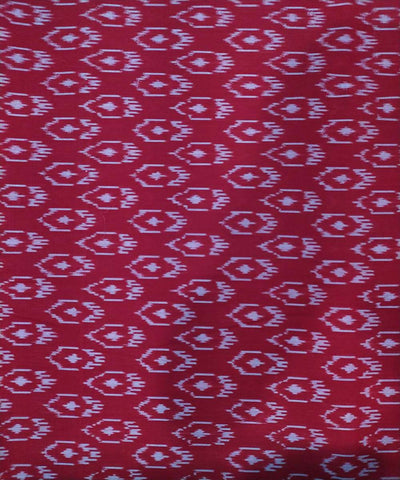 Pink and white Cotton Handwoven Pochampally Ikat Fabric