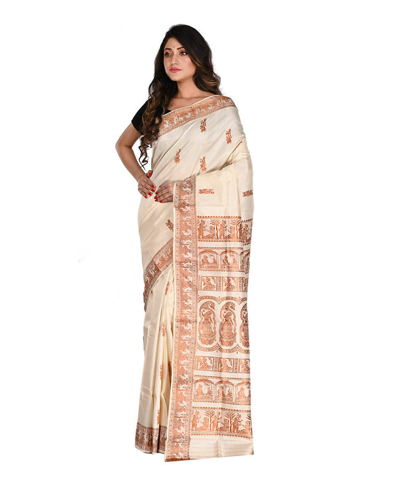 Bengal Handloom White Baluchari Silk Saree