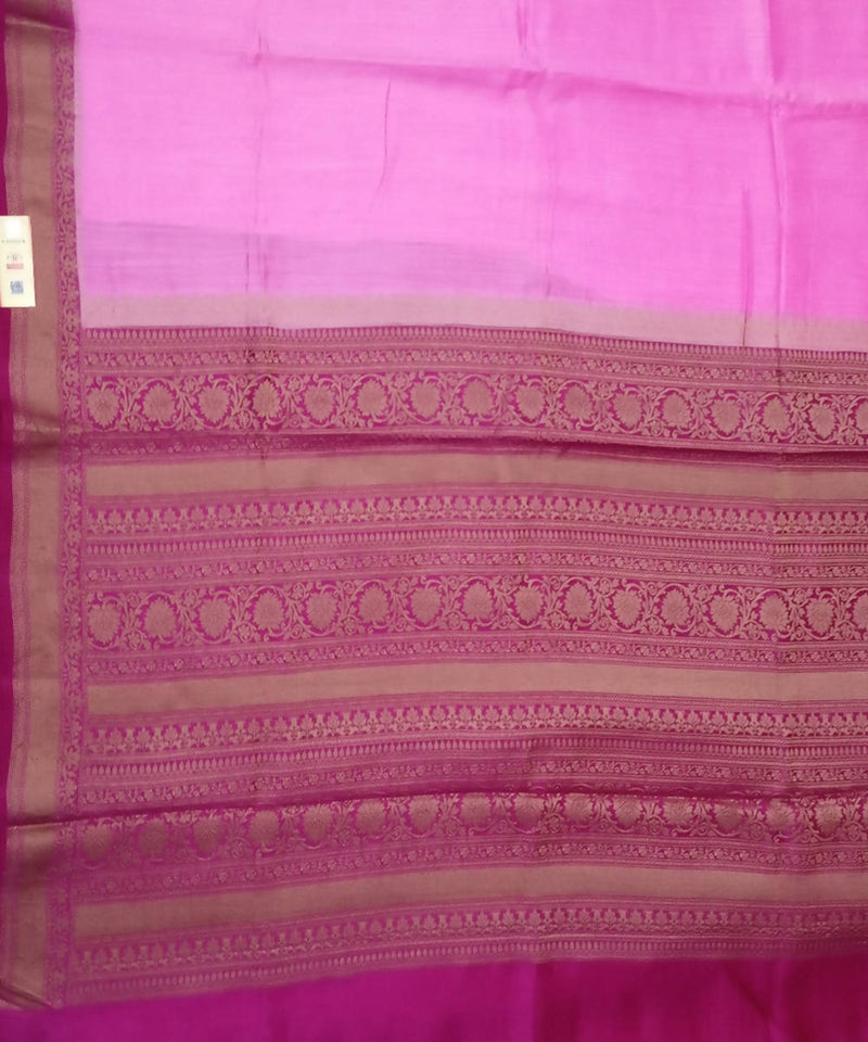 Banarasi Pink and Magenta Handwoven Silk Saree