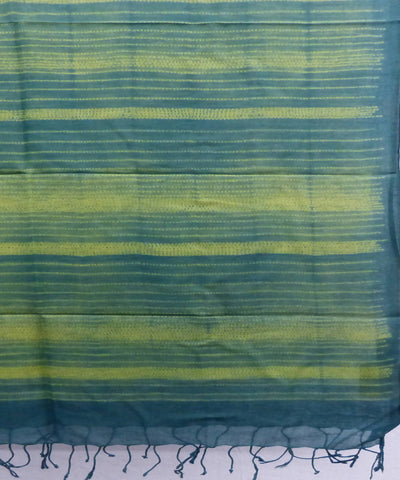 Yellow Green Handloom Cotton Shibori Stole