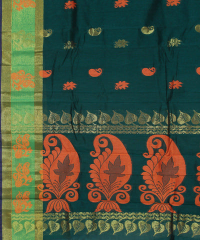 Dark Green Handloom Narayanpet Cotton Saree