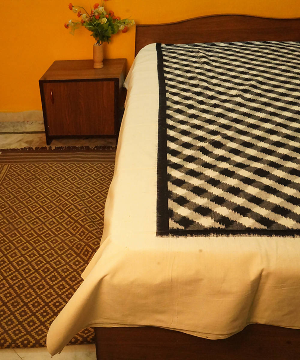 Handwoven Checks Pattern Double Ikat Bedsheet