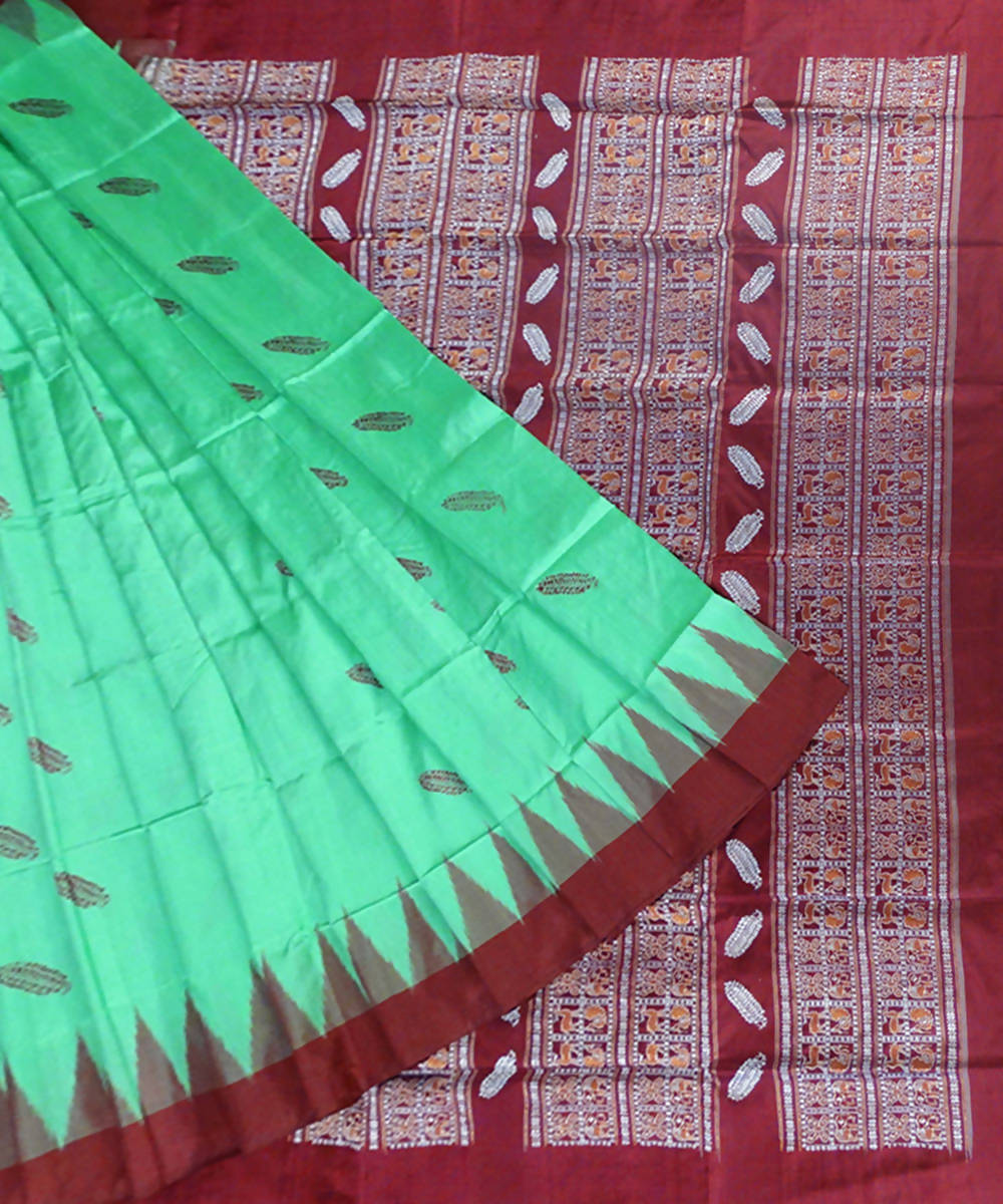 Bright Green handloom Bomkai silk Saree