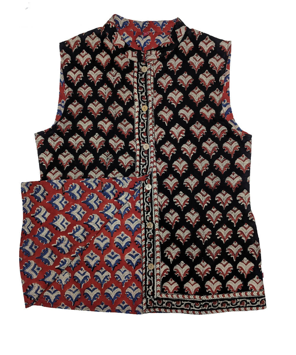 Black and maroon hand block printed cotton reversible jacket