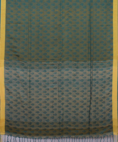 Green Yellow Bengal Handloom Cotton Saree