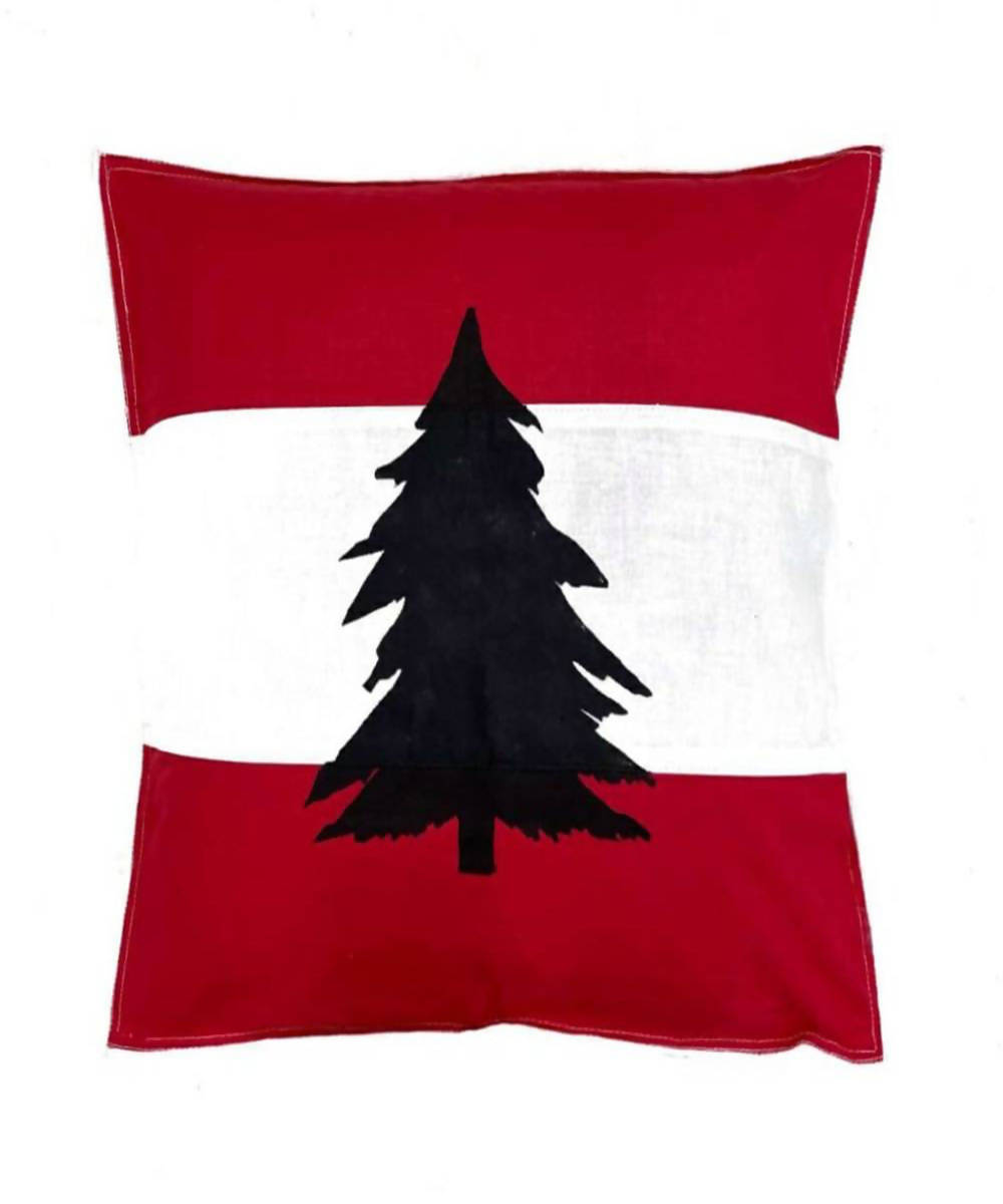 Offwhite red handwoven pine tree motif cotton cushion cover