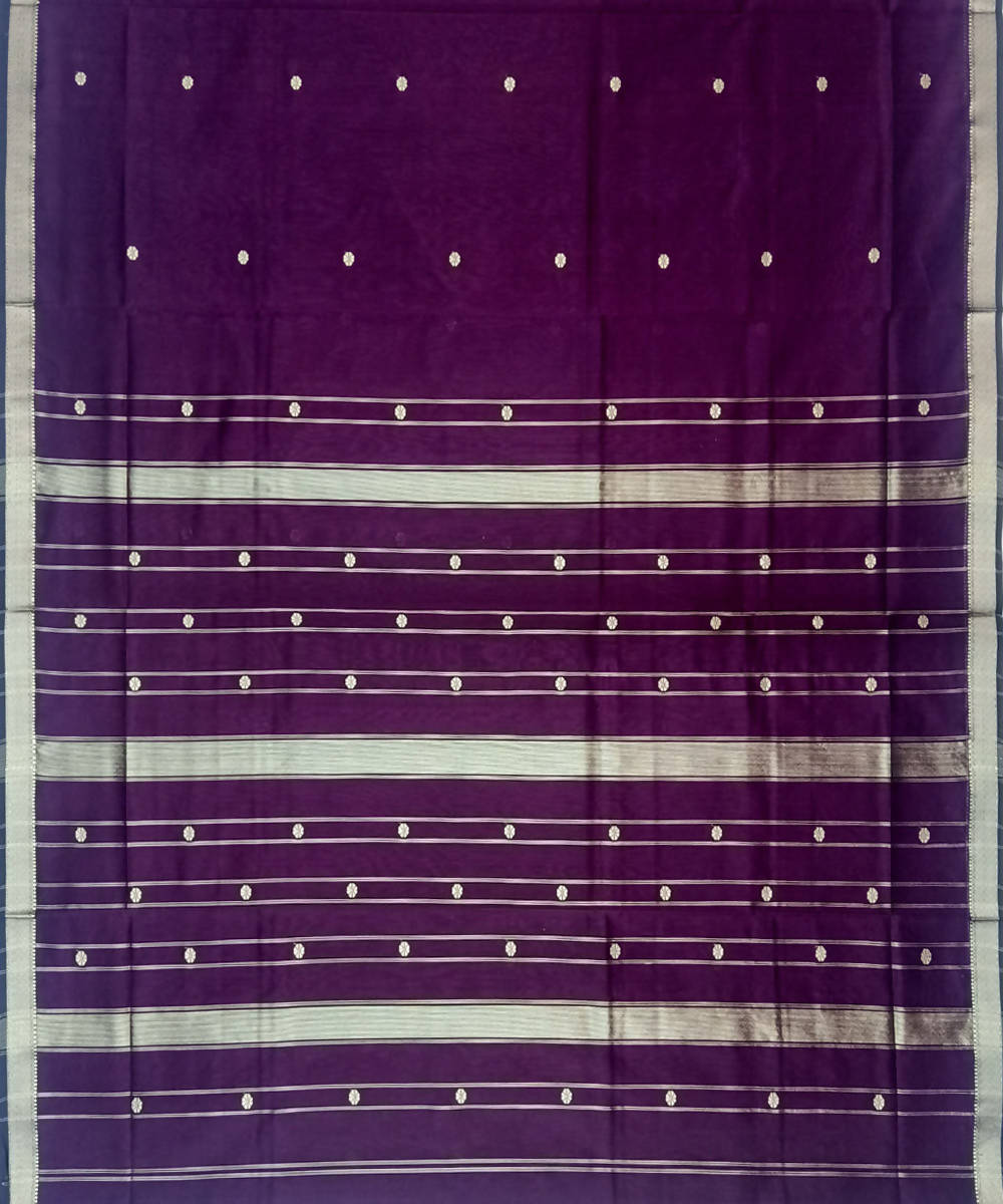 Maheshwari Violet Handwoven Cotton Silk Saree