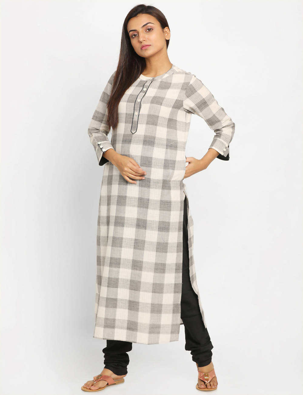 grey white checks Handwoven Cotton Kurta