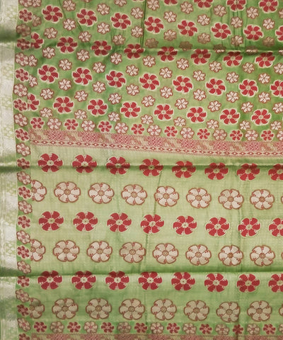 Pickle Green Banarasi Handloom Silk Saree