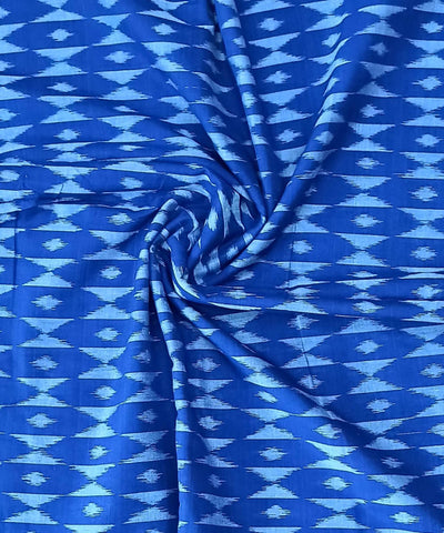 Azure Blue Handwoven Ikat Cotton Fabric