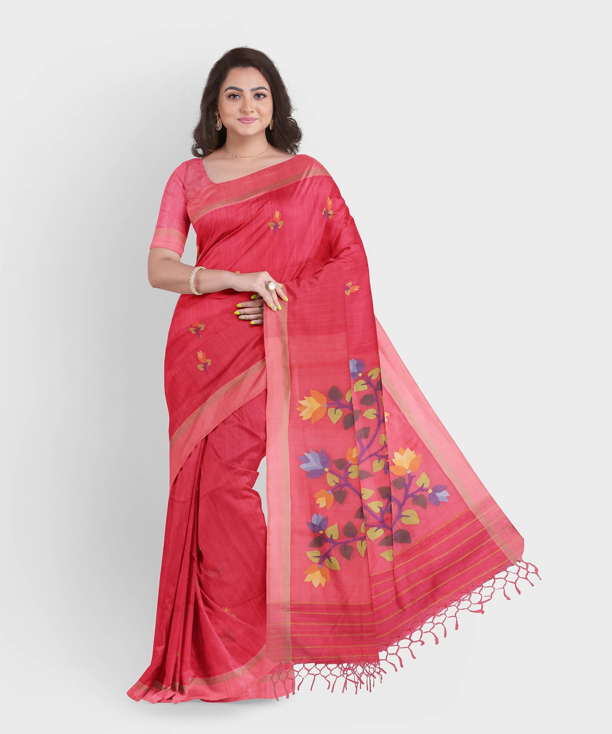 Biswa bangla handwoven peach pink matka silk jamdani saree