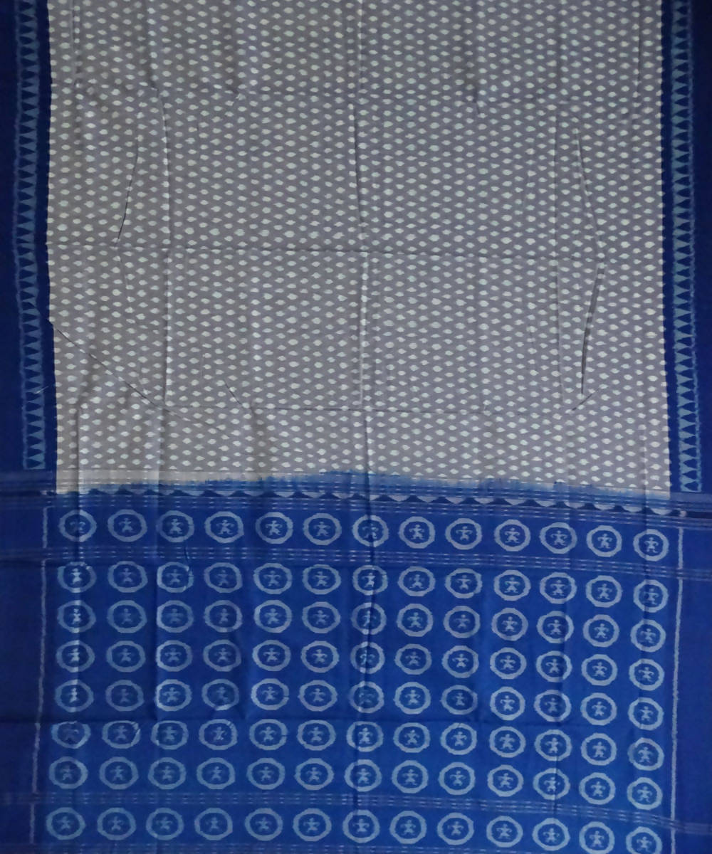 French Sky Blue Handwoven Sambalpuri cotton Saree